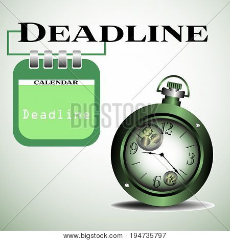 Abstract colorful illustration with old watch and a calendar sheet hanging from the word deadline. Deadline concept