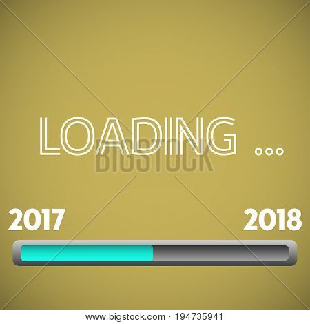 Colorful illustration with loading bar from 2017 to 2018. New Year concept
