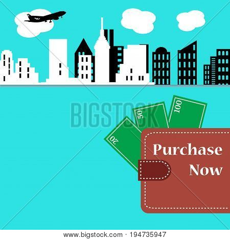 Colorful background with cityscape, wallet with cash money and the text purchase now, written on the wallet