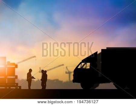Silhouette supervisors meeting understanding and planning of traffic sent to clients to meet plan targets over blurred pastel background sunset industry and shipping. Heavy industry and Transportation concept.