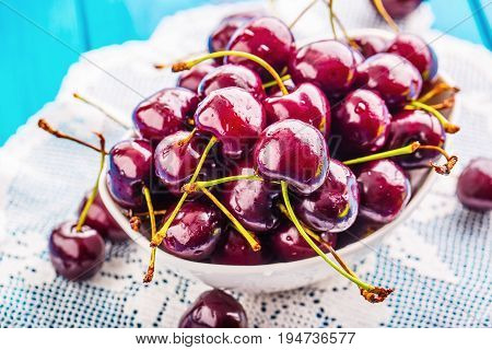 Cherries. Cherries. Fresh Sweet Cherries. Delicious Cherries With Water Drops In Bowl On Table