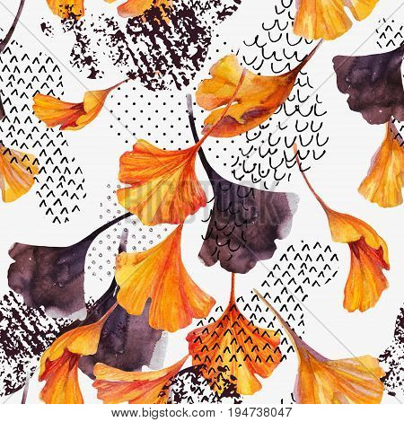 Abstract watercolor seamless pattern in autumn colors. Drawing of ginkgo leaves ink doodle grunge water color paper textures. Floral background for fall design. Hand painted illustration