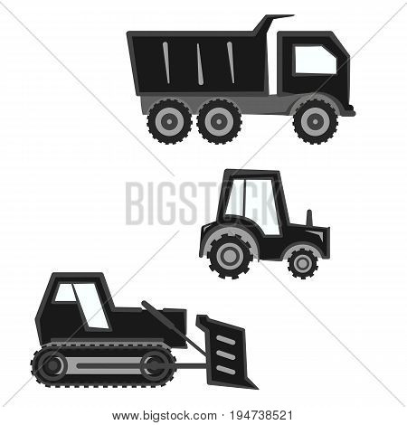 Flat monochrome black and gray industry agricultural transport set. Bulldozer tractor and hopper isolated vector icons