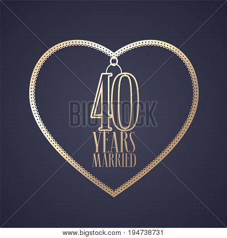 40 years anniversary of being married vector icon logo. Graphic design element with golden color heart for decoration for 40th anniversary wedding