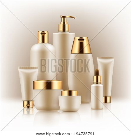 Elegant realistic packages for cosmetic product. Blank templates of containers vial with dropper, bottle for shower gel, lotion, shampoo with pump dispenser, jar, tube for cream. White and golden