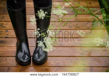 Closeup of woman's feet in black rubber boots on a wet wooden bridge in the park. Rain.