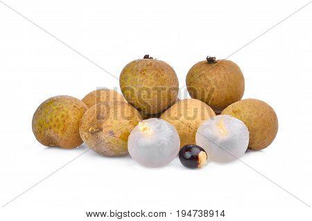 longan tropical fruit isolated on white background