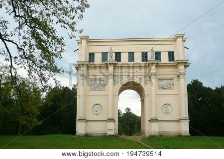 LEDNICE, CZECH REPUBLIC - MAY 13, 2017: Temple of Diana, a hunting lodge in a form of a Neoclassical arch from the 1810s in Lednice-Valtice Cultural Landscape