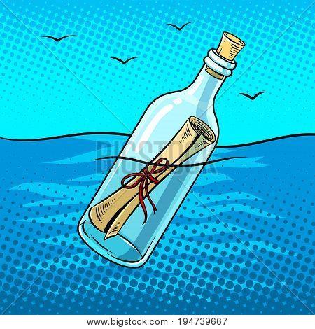 Message in a bottle pop art retro vector illustration. Comic book style imitation.