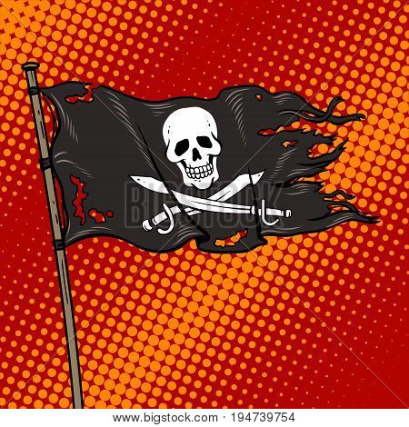 Pirate flag with Jolly Roger pop art retro vector illustration. Comic book style imitation.