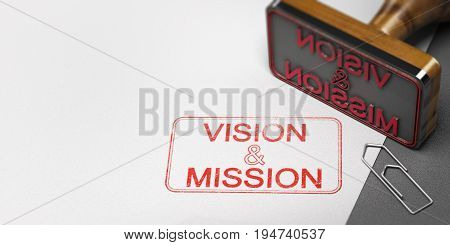 3D illustration of a rubber stamp with other office supplies and the text vision and mission on a sheet of paper.