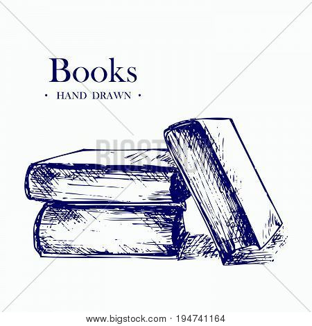 Books, Hand Drawn Sketch Vector illustration. EPS8