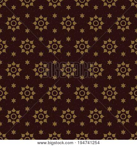 Antique Seamless Background Image Of Vintage Vermillion Star Round Flower