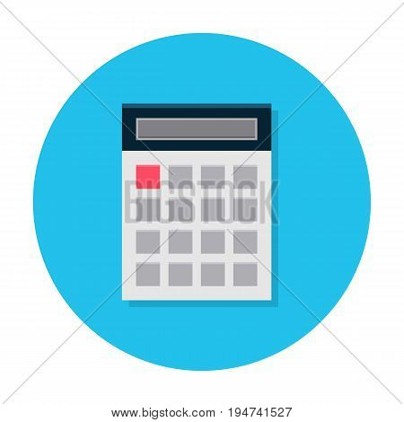 Flat calculator icon. Internet sign in rounded shape in cartoon style. Web and mobile design element. Finance, accounting and calculate symbol. Vector colored illustration.