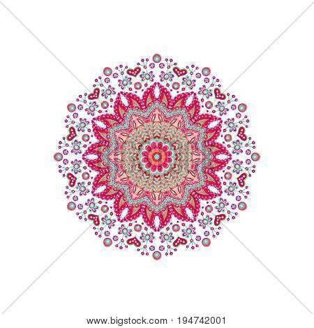 Watercolor abstract ornate mandala. Indian paisley and doodle ornament isolated on white background. Hand painted art illustration for boho authentic design