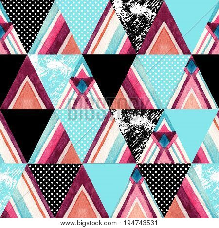 Abstract watercolor ornate triangles seamless pattern. Geometric triangle shapes with aztec ornament grunge texture polka dot. Hand painted colorful illustration in patchwork style
