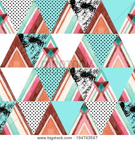Watercolor ornate triangles seamless pattern. Geometric triangle shapes with aztec ornament grunge texture polka dot. Hand painted colorful illustration in patchwork style