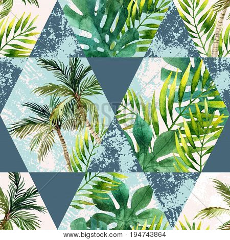 Watercolor tropical leaves and palm trees in geometric shapes seamless pattern. Hexagon and triangle with water color paper grunge textures in retro colors. Hand painted abstract tropic illustration