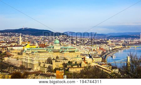 Amazing view of beautiful Budapest from the town nearby hill on the Budim side of the town.