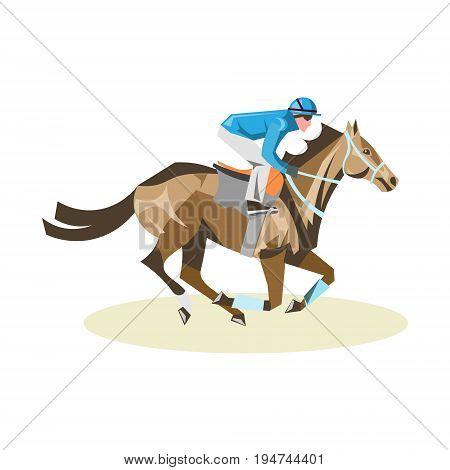 Jockey on white horse. Jockey riding jumping horse. Poster. Sport background. Isolated vector illustration.