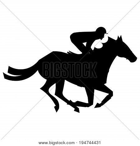 Jockey riding on horseback. Horse races. Competition. Silhouettes on a white background.