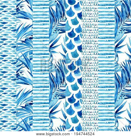 Watercolor textured striped seamless pattern with wave stripe squiggle fish scale ornaments tropical palm leaves. Abstract background in marine style. Hand painted water color illustration