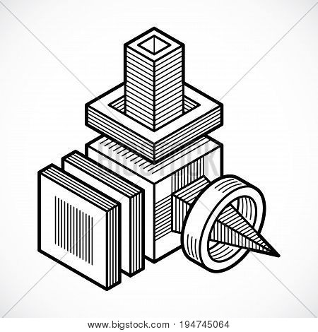 Abstract three-dimensional shape vector design cube element.