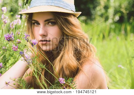 Pretty girl in a summer park. Modern hippie, hipster style. Beauty, fashion outdoor.