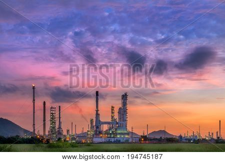 Oil refinery plant at twilight scene, Oil and Gas