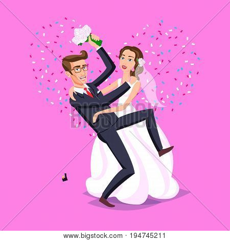 wedding illustration. Just married funny couple, bride and groom dance from after wedding ceremony pink background heart vector art