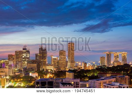 Singapore downtown at sunrise scene, Business downtown