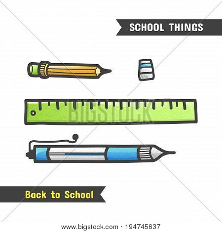 Back To School Supplies, Hand Drawn Icon