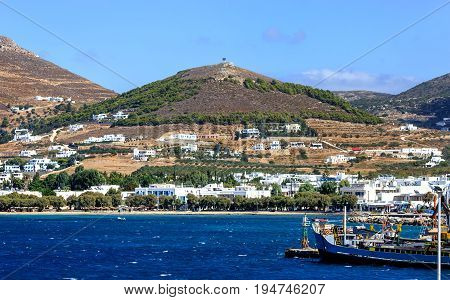 Picturesque view of Greek island Ios with its small ferry port