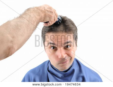 Barber cutting hair with clipper- a series of BARBER images.