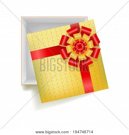 Vector illustration of empty giftbox with square ornament and red ribbon on top.