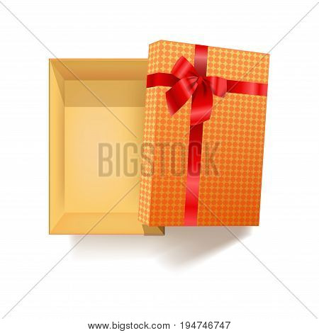 Gift box with red ribbon of flower bow and pattern wrapping paper for Wedding, Valentines Day or birthday gifts. Vector 3d realistic modern square cardboard paper package with shadow and open cover