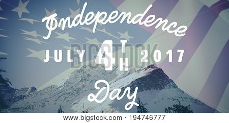 Digitally generated image of happy 4th of july message against scenic view of snow covered mountains