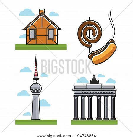 Vector illustration of house, different monuments, and sausages.