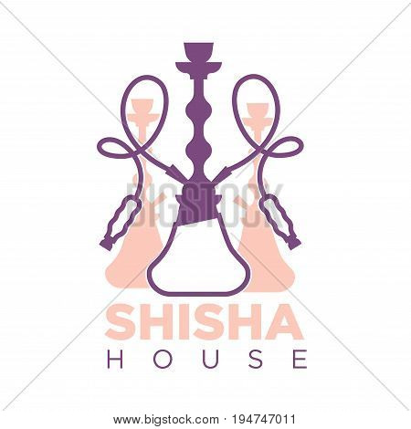 Shisha house promotional logotype with hookah pink and purple silhouettes that has long curled smoking pipes isolated flat vector illustration with big thick sign underneath on white background.
