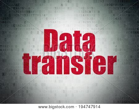 Data concept: Painted red word Data Transfer on Digital Data Paper background