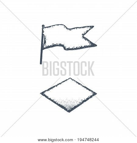 Hand drawn blank vintage flag and rhombus shape. Retro roughen style. Easy to change color. Stock vector illustration isolated on dark scratched background.