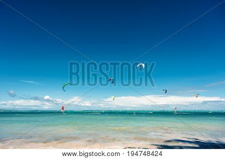 kite surfing. Extreme sport active healthy lifestyle concept. Bulabog beach Boracay Philippines