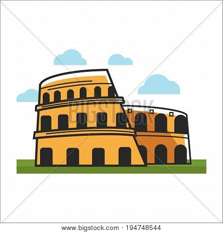 Vector illustration of colosseum building on the grass.