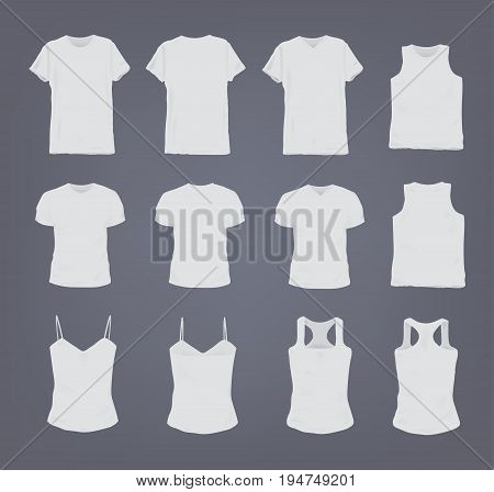 Set of different realistic white female and male t-shirt. Front and back view. Shirt sleeveless, short-sleeve, singlet, tank top. Vector illustration collection in gray background