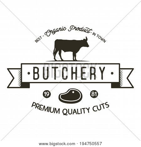 Butchery shop logo template. Old style badge design with silhouette cow symbol and typography elements. Stock isolated on white background.