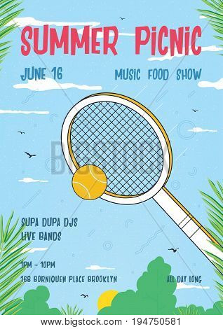 Summer picnic vertical poster. Trendy retro placard with classic tennis racquet, palm leaves and blue sky. Colorful vector illustration