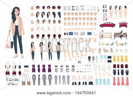 Young lady character constructor. Trendy girl creation set. Different woman postures, hairstyle, face, legs, hands, clothes, accessories collection. Vector cartoon illustration. Front side back view