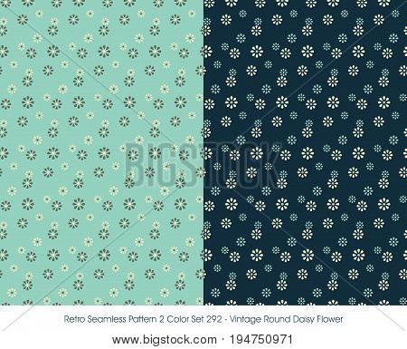 Retro Seamless Pattern Vintage Round Daisy Flower