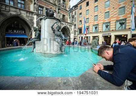 Fish Fountain At Marienplatz