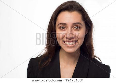 Beautiful Young Businesswoman smiling with healthy teeth.